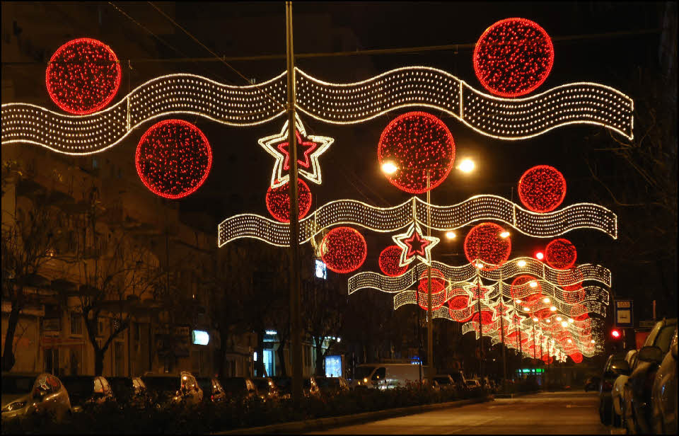 Christmas lights in Olhao in the Algarve