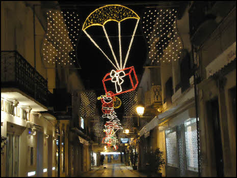 Christmas with lights in Olhao in the Algarve