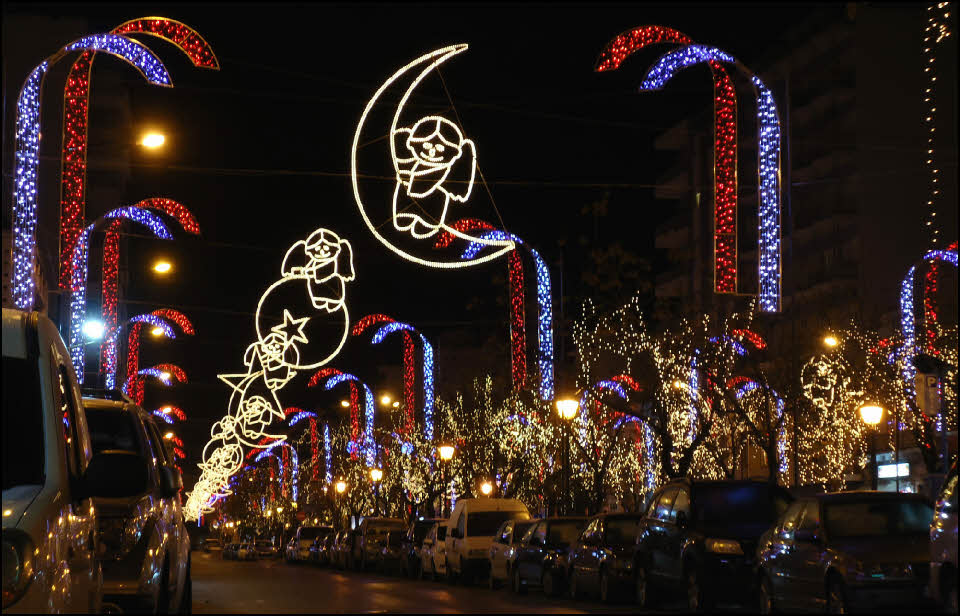 festive lights at Christmas in Olhao