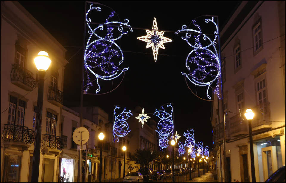 Christams lights along a road in the Algarve