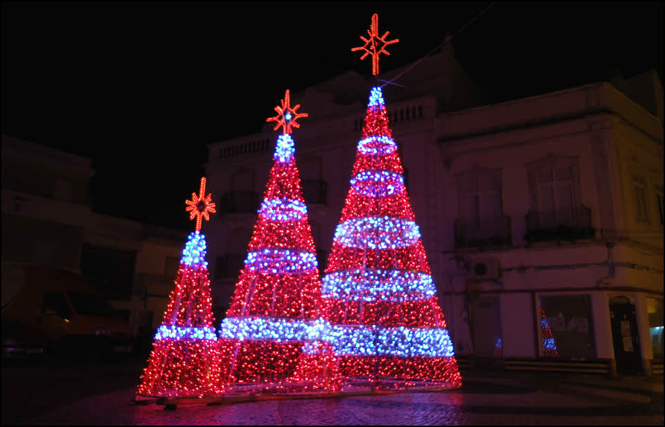 Christmas tree lights in Olhao in Algarve