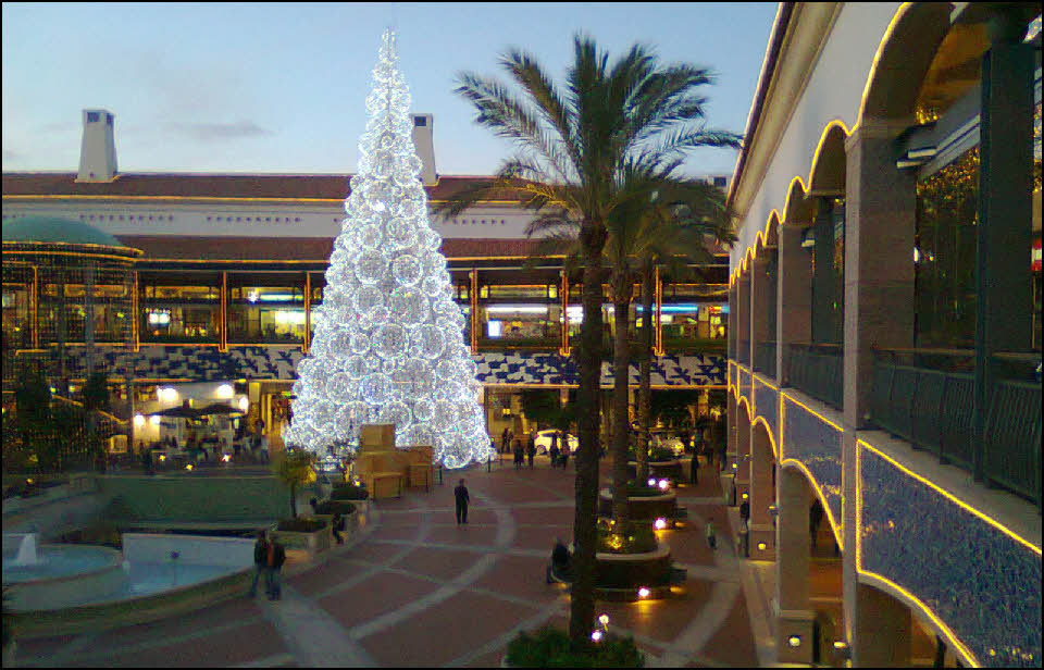 Christmas tree lights in Faro in the Algarve Portugal
