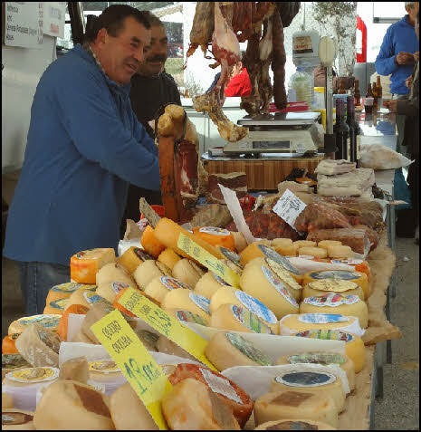 Cheese for sale at the Estoi market in the Algarve