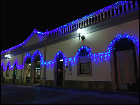Tavira market Christmas lights