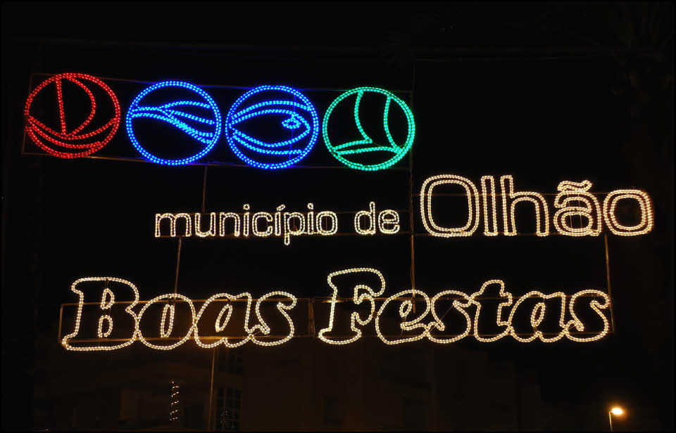 olhao Christmas lights in Algarve Portugal