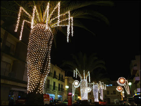 tree lights in Olhao in Algarve Portugal