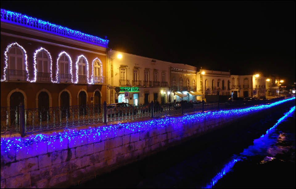 Christmas lights on the river bank in Tavira Algarve