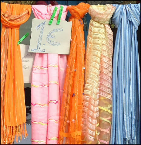 Colourful bargain scarves