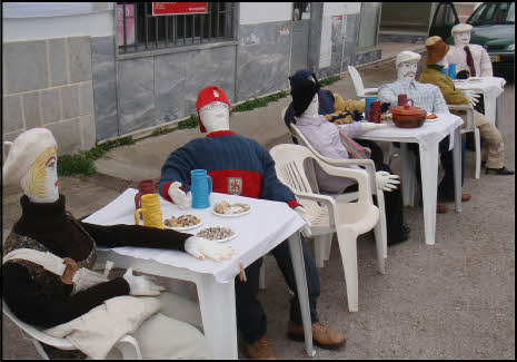 mannequins at their tables in portugal in may