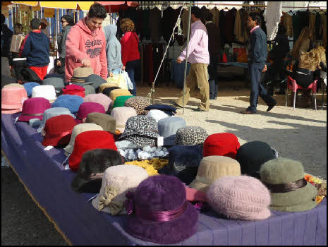 The hat stall at the market