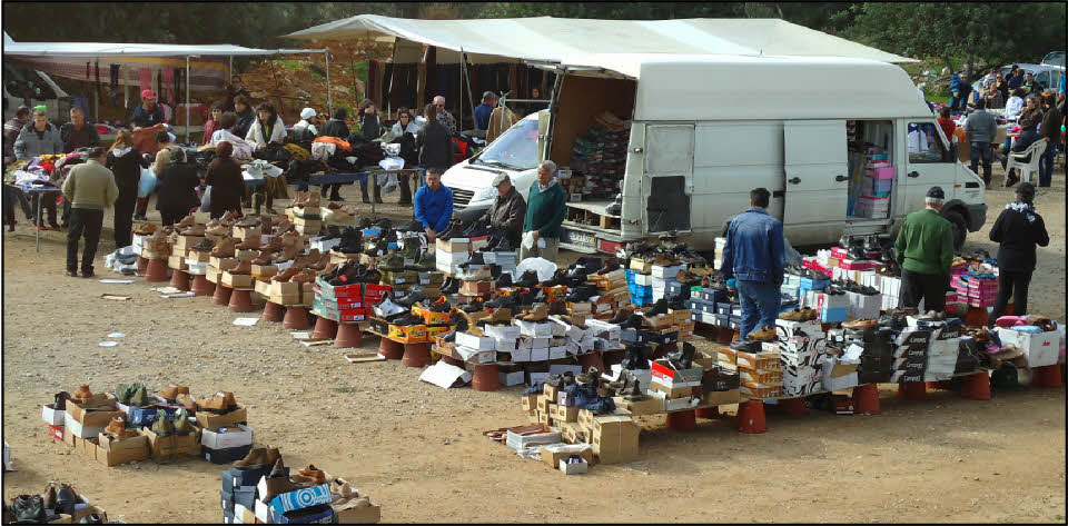 Shoe stall at Estoi market